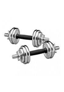 Fitness Gym 15KG Chrome Dumbbell And Barbell Combo Set