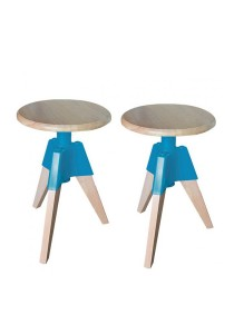 Furniture Direct Designer Swivel Low Stool (Turquoise) 2 Units