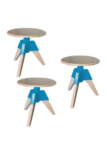 Furniture Direct Designer Swivel Low Stool (Turquoise) 3 Units