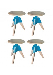 Furniture Direct Designer Swivel Low Stool (Turquoise) 4 Units