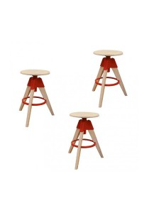 Furniture Direct Designer Swivel High Stool (Red) 3 Units