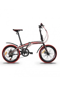 "Garion G2022-BC 20"" Alloy Folding Bike with Disc Brake (Matte Brown/Red)"