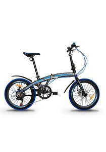 "Garion G2022-BC 20"" Alloy Folding Bike with Disc Brake (Matte Brown/Blue)"