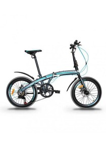 "Garion G2022-BC 20"" Alloy Folding Bike with Disc Brake (Matte Grey/Turquoise)"