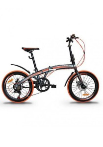 "Garion G2022-BC 20"" Alloy Folding Bike with Disc Brake (Matte Grey/Orange)"