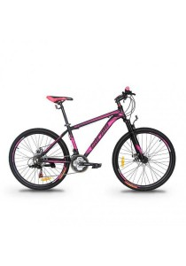"Garion G2618-BC 26"" Alloy Mtb Mountain Bike with Shimano 21-speed (Matte Black/Purple)"