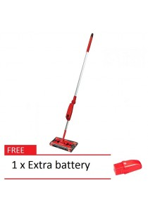 G6 Cordless Rechargeable Swivel Sweeper Quad-Brush (Red) + 1 Extra Battery