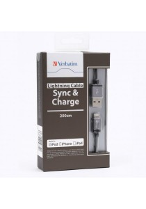 Verbatim 200cm Metallic Lightning Cable (Black)