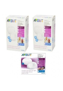 Philips Avent 2 Boxes of Disposable Breast Pads Day 60s + 1 Box Night Breastpads -20pcs