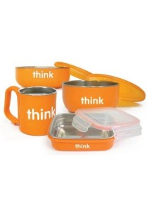 Thinkbaby Stainless Steel Complete Feeding Set with BPA Free Cover - Orange