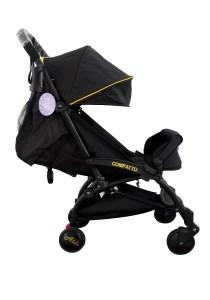Aldo Compatto Stroller New Version (with Bumper Bar & Cup Holder) - Black