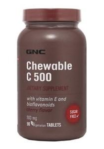 GNC Chewable C 500mg Cherry Flavor 90 Vegetarian Caps