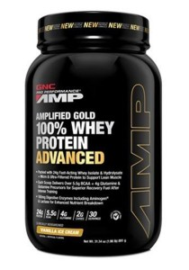 GNC PP Amplified Gold 100% Whey Protein Adv Vanilla Ice Cream 1.96 lbs