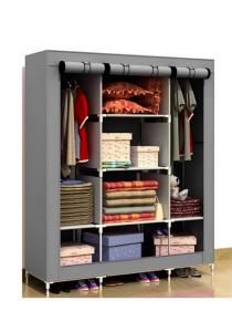 Multifunctional Dust Cover Wardrobe (Grey)