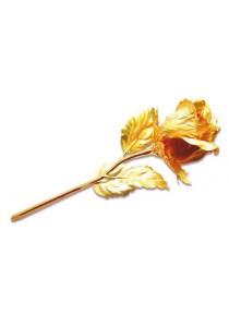 Gold Rose With Crystal Vase Half Bloom