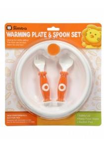 Simba Warming Plate & Spoon Set (Orange)