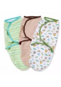 Summer Swaddleme 3 Pk Cotton S/M- Mom & Baby (Stripe / Cappucino)