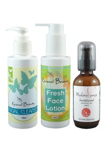 Face Care Set: KB Facial Cleanser + KB Fresh Face Lotion + MN Sandalwood Herbal Face Gel