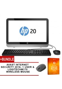 HP 20-E031d AIO PC Intel Pentium N3700 Computer System Non-Touch + Avast Internet Security 2016 (1 User) + Logitech M170 Wireless Mouse