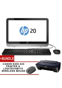 HP 20-E031d AIO PC Intel Pentium N3700 Computer System Non-Touch + Canon Pixma E400 Color Inkjet Multifunction Printer + Logitech M170 Wireless Mouse