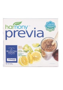 Harmony Previa Organic Milled Chia Seeds with Prebiotic (Premium Seed Powder Drink, 14 x 20g Sachets)