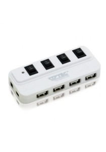 Vztec 4 Port USB Hub with ON-OFF Switch (VZ-UH2083) (White)