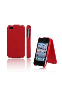 Anymode iPhone 4S Flip Down Leather Case with Stand VIP Case (Red)
