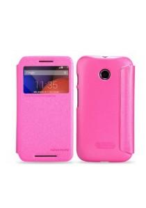 (Genuine) Nillkin Sparkle Series Protective Side Flip Case for Motorola Moto E (Hot Pink)