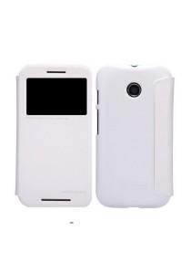 (Genuine) Nillkin Sparkle Series Protective Side Flip Case for Motorola Moto E (White)