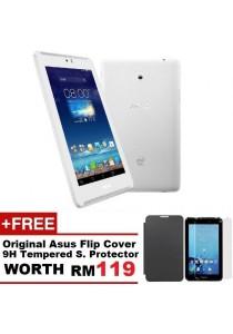 Asus Fonepad 7 FE170CG 8G Dual SIM (White) + Original Asus Flip Cover (Random Color) + 9H Tempered Glass Screen Protector