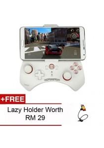 Ipega 9025 Universal Bluetooth Game Pad (Multiple Compatibility) (White) + Free Lazy Holder