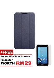 Asus Fonepad 7 FE170CG Sparkle Standable Flip Cover Case (Black) + Super HD Clear Screen Protector