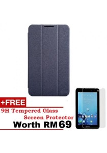 Asus Fonepad 7 FE170CG Sparkle Standable Flip Cover Case (Black) + 9H Tempered Glass HD Clear Screen Protector