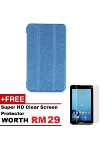 Asus Fonepad 7 FE170CG Sparkle Standable Flip Cover Case (Blue) + Super HD Clear Screen Protector