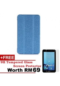 Asus Fonepad 7 FE170CG Sparkle Standable Flip Cover Case (Blue) + 9H Tempered Glass HD Clear Screen Protector