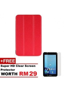 Asus Fonepad 7 FE170CG Sparkle Standable Flip Cover Case (Red) + Super HD Clear Screen Protector