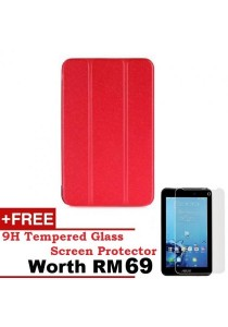 Asus Fonepad 7 FE170CG Sparkle Standable Flip Cover Case (Red) + 9H Tempered Glass HD Clear Screen Protector