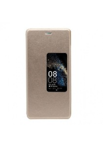 PU Leather Windows View Flip Cover Case for Huawei P9 (Gold)