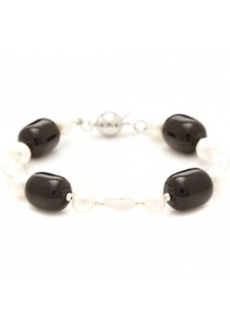 Black Tuby Agate & Freshwater Pearl Bracelet