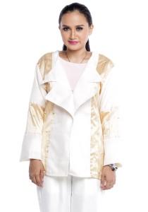 Farha Design Corrine Linen Jacket - Honey Vanilla & Golden Champagne