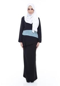 Farha Design Grace Peplum Kurung - Midnight Black