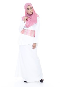 Farha Design Grace Peplum Kurung - Snow White