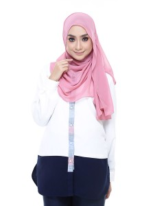 Farha Design Zaephira Button Shirt - White, Navy & Blue Placket Front