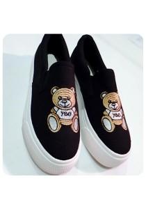 Bear Canvas Shoes (Black)