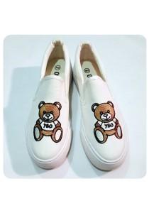 Bear Canvas Shoes (White)