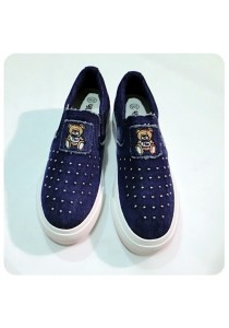 Studded Jeans Canvas Shoes (Blue)
