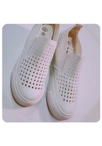 PU Holes Shoes (White)