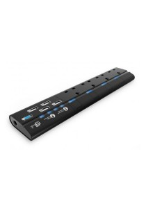 aMagic MagStrip 4 Way Socket Extension Lead Power Strip Surge Protected with 4 USB Port Charger - UK Plug (Black)