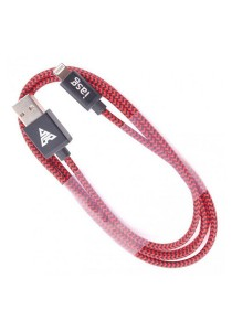 iasg Cotton Braided Lightning Cable with Reversible USB 1meter (Black/Red)