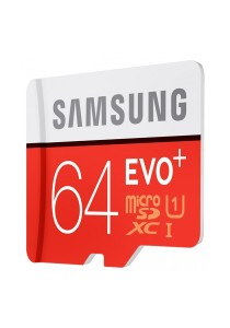 Samsung Memory 64GB Evo Plus MicroSDXC UHS-I Grade 1 Class 10 Memory Card 80Mb/s - MB-MC64D/Red